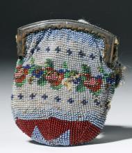 19th C. Mexican Glass Beaded Coin Purse, ex-Historia