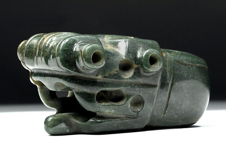 Superb Costa Rican Jade Mace Head - Anthropomorphic