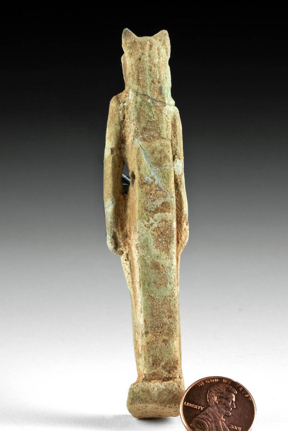 Egyptian Glazed Faience Figure of Bastet