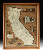 Framed Andy Dagosta Illustrated Map of California, 1969