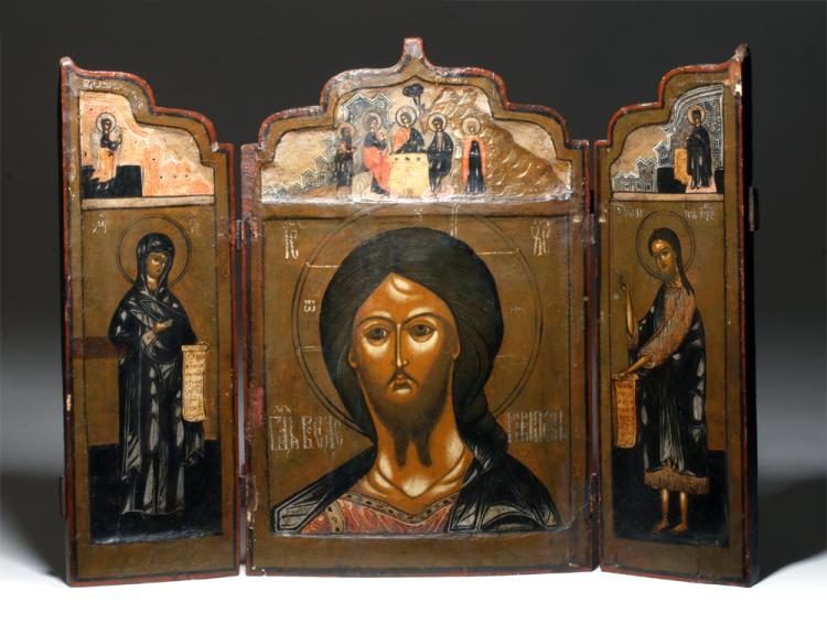 18th c russian wood panel triptych icon for Artemis decoration