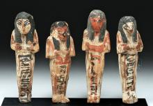 Group of 4 Egyptian Gesso'd Wood Ushabtis, ex-Bonhams