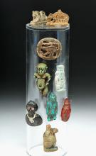 Assorted Egyptian Amulets - 8 Faience & 1 Glass