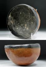 Greek Cypriot Red Polished Bowl w/ Black Rim