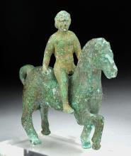 Roman Bronze Figurine of Horse & Rider