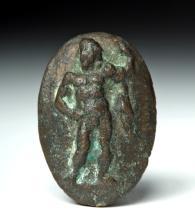 Roman Bronze Oval Relief w/ Hercules
