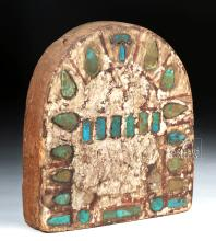 Egyptian Wooden Painted Panel with Inlaid Faience