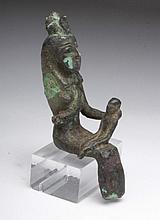 Large Egyptian Bronze Seated Isis & Horus