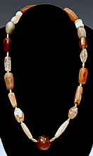 Near Eastern Stone Carnelian and Gold Bead Necklace with Stamp Seal