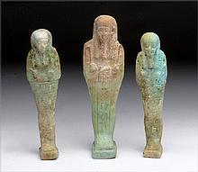 Lot of 3 Egyptian Faience Ushabtis