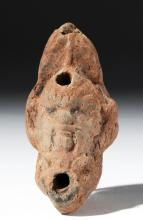 Romano Egyptian Pottery Oil Lamp - Bes
