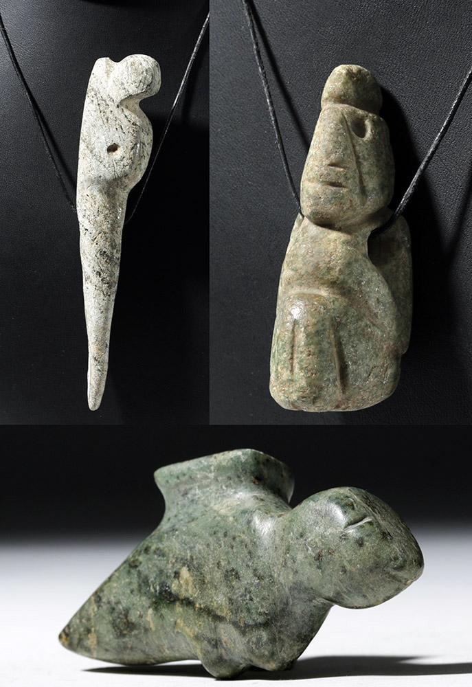 Trio of pre columbian mezcala stone carvings