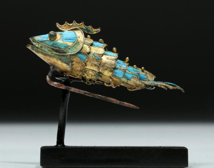 Japanese Meiji >10 Kt Gold Enamel Articulated Fish
