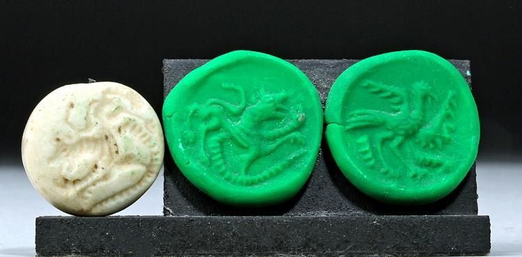 Sumerian Double-Sided Stone Seal - Bird & Bull