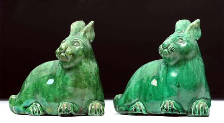 17th C. Pair of Chinese Qing Dynasty Pottery Rabbits