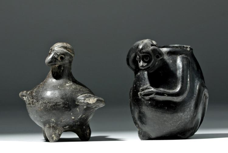 Mixtec Blackware Bird Whistle + Monkey Jar