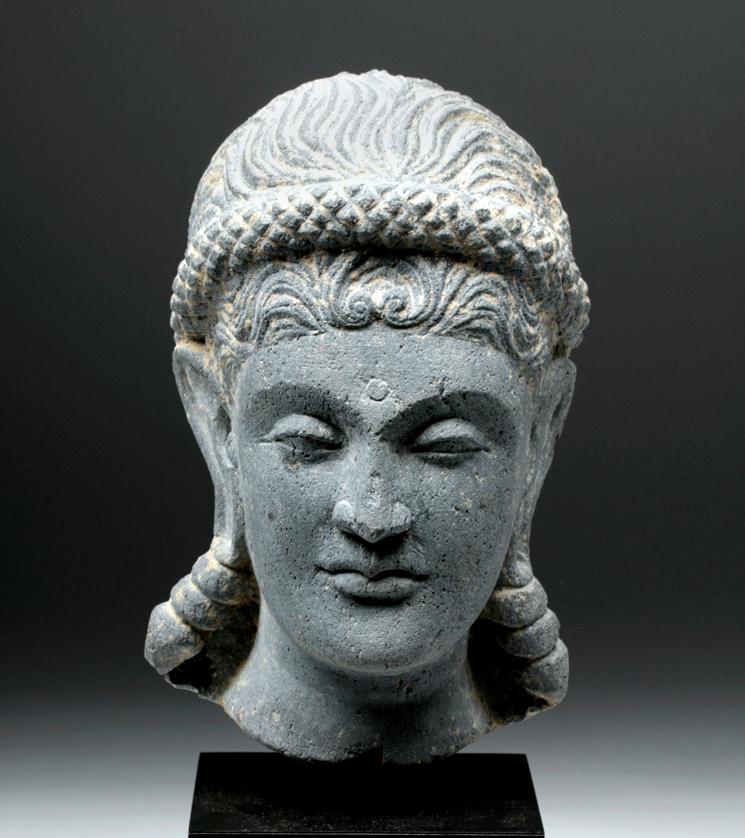 Lifesize Gandharan Grey Schist Head of Goddess Hariti