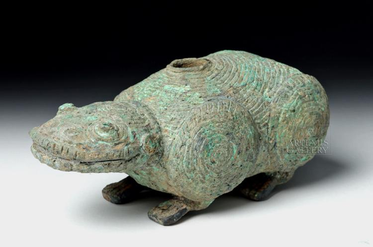 Ancient Dong Son Bronze Lime Container - Amphibian