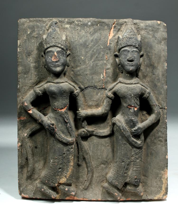 15th C. Burmese Relief Stone Panel - Two Women / Nats