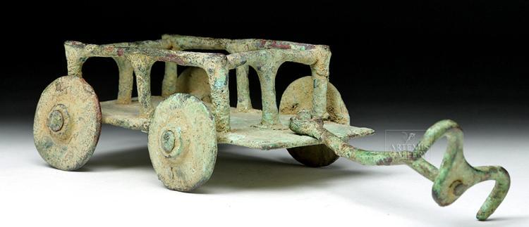 Very Rare Central Asian Bronze Model Cart