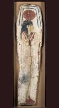 Egyptian Painted Wood Sarcophagus Panel of Nut