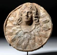 Hellenistic Pottery Roundel - Athena or Apollo