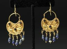 Ancient Roman 22K+ Gold, Garnet & Glass Earrings