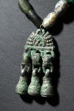 Ancient Viking Glass Necklace w/ Bronze Pendant