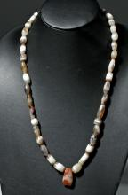 Ancient Bactrian Banded Agate Beaded Necklace
