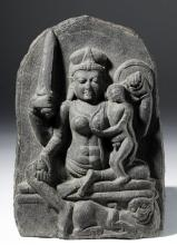 Superb Indian Pala Stone Panel of Goddess Parvati