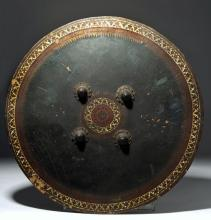 19th C. Indo-Persian Shield Dhal, Painted Wood /Leather