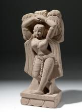 19th C. Indian Pink Sandstone Figure of a Yakshi