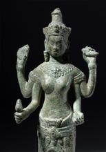 12th C. Khmer Bronze Figure of Goddess Lakshmi