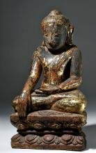 Impressive 19th C. Burmese Gilded / Lacquer Wood Buddha