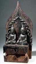 19th C. Thai Gilded Wood Shrine w/ Twin Buddhas