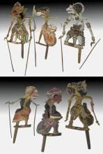 20th C. Indonesian Painted Wood Wayang Puppets (6)