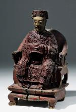 18th C. Chinese Qing Painted Wood Figure of Emperor