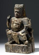 18th C. Chinese Qing Gilded Wood Figure Taoist Guandi