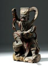 19th C. Chinese Qing Painted Wood Figure Atop Lion