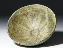 Ancient Persian Nishapur Glazed Pottery Bowl