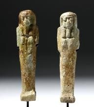 Pair of Egyptian Faience Ushabtis