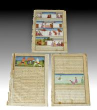 Trio of 2-Sided 18th C. Mughal Indian Illuminated Pages