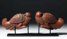 Early 20th c. Indian Red Lacquered Wood Cake Molds