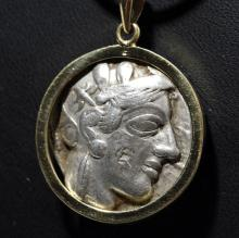 Ancient Greek Tetradrachma - Athena/ Owl in 14kt Gold