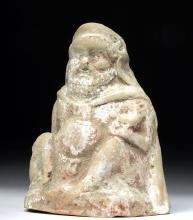 Greek Terracotta Statuette - Seated Nude Male / Silenus