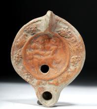 Signed Roman Terracotta Oil Lamp - Male + Female
