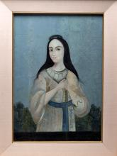 19th C. Mughal Painting, Young Lady, ex-Butterfields