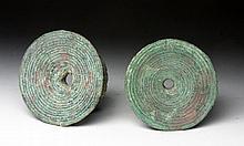 Lot of 2 Ban Chiang Bronze Ear Spools