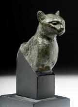 Published Egyptian Bronze Deep Bust of a Cat / Bastet