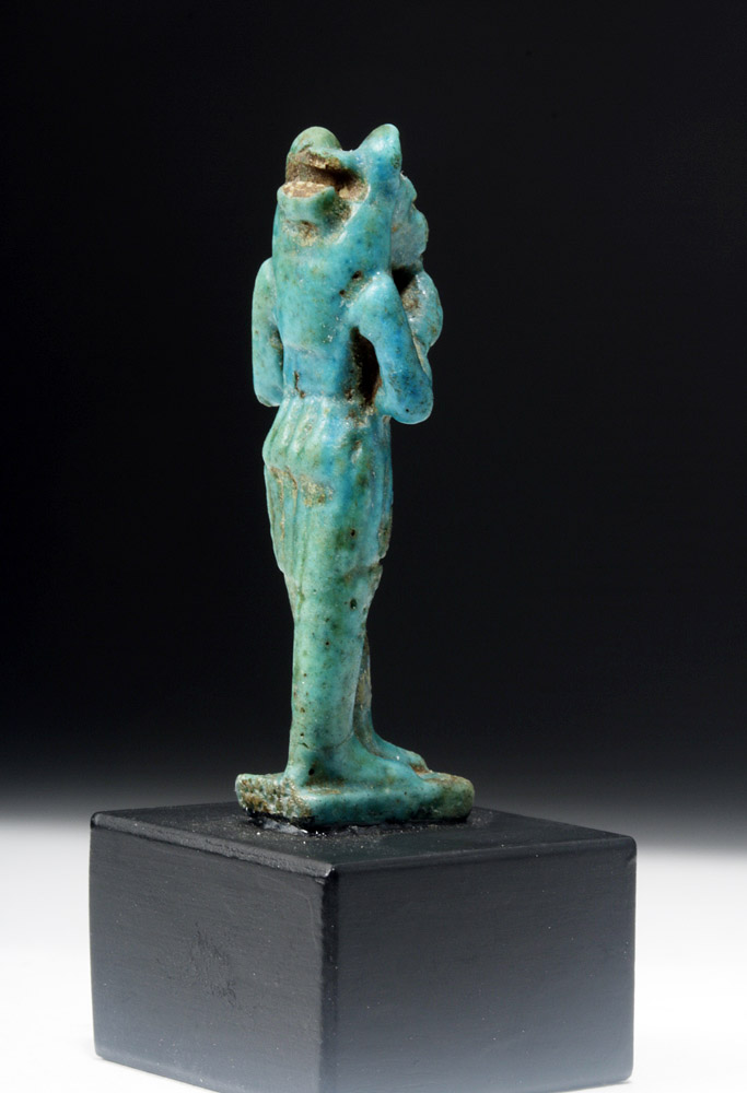 Egyptian turquoise faience amulet of maahes for Faience turquoise